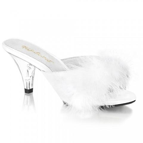 Mules de satén y marabú en blanco con tacón transparente - ¡HASTA LA TALLA 46! - Fabulicious Belle-301F
