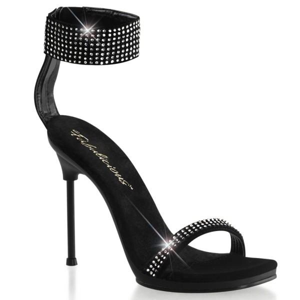 Sandalias negras de nubuck con pulsera de strass y tacón fino - Fabulicious Chic-40