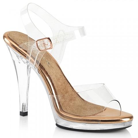 Sandalias transparentes combinadas con oro rosado - ¡DESDE LA TALLA 35 HASTA L A 46!! - Fabulicious Flair-408
