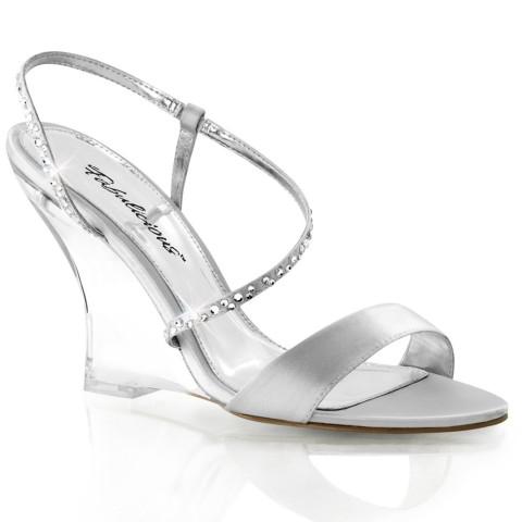 Sandalias plateadas de satén con tacón de cuña transparente y tira de pedrería - Fabulicious Lovely-417