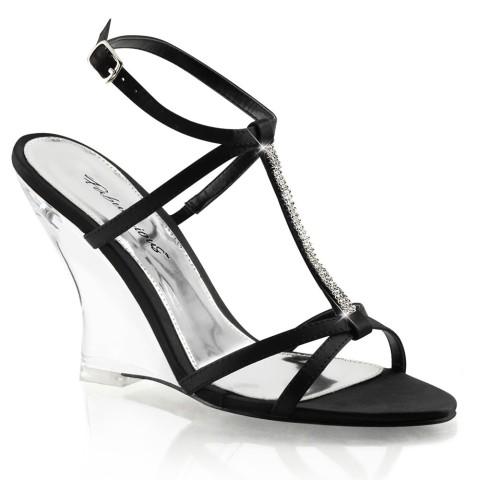 Sandalias negras de satén con tacón de cuña transparente y escote en T con pedrería - Fabulicious Lovely-428