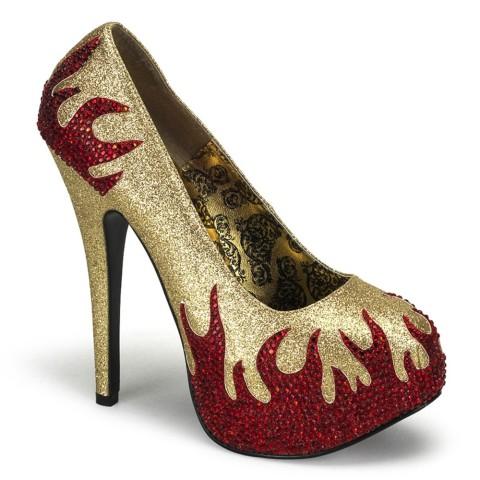 Zapatos de llamas en rojo y dorado - Bordello Teeze-27