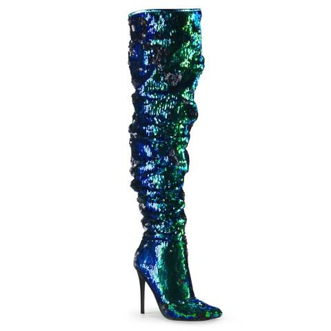 Botas mosqueteras de lentejuelas verdes iridiscentes - ¡DESDE LA TALLA 36 HASTA LA 44! - Pleaser Courtly-3011