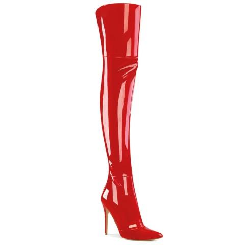 Botas altas mosqueteras rojas de charol - ¡DESDE LA TALLA 36 HASTA LA 44! - Pleaser Courtly-3012