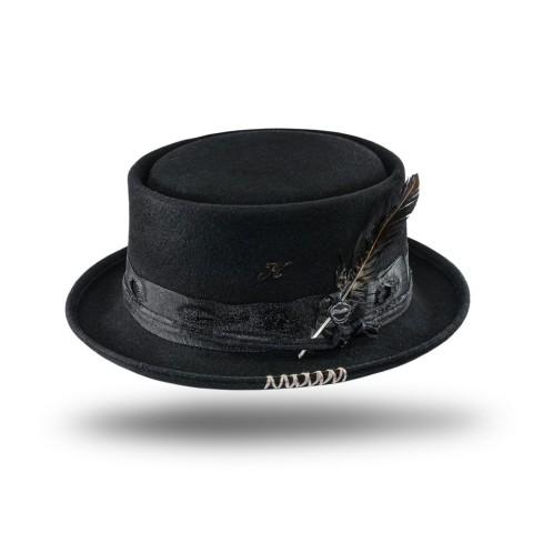 Sombrero unisex negro de fieltro de lana Laris
