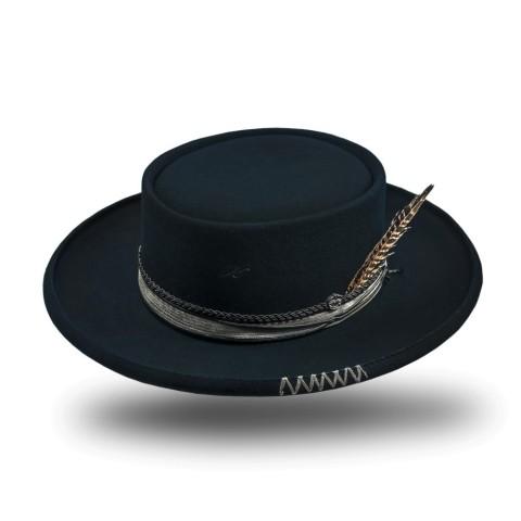 Sombrero unisex negro de fieltro de lana Matheo