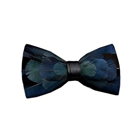Pajarita plumas naturales azul