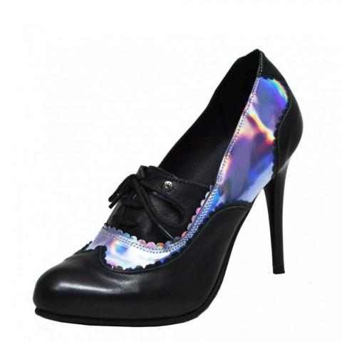 Zapatos vintage de tacón de cuero y espejo Steelground