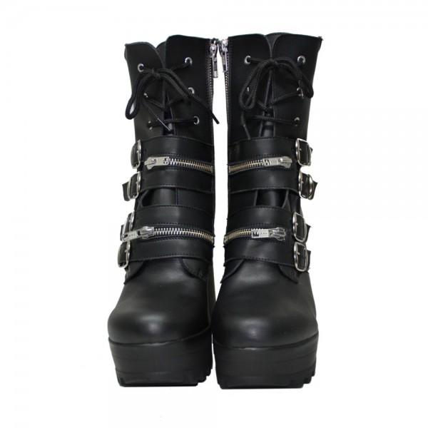 Botas negras de piel vegana con plataforma y hebillas
