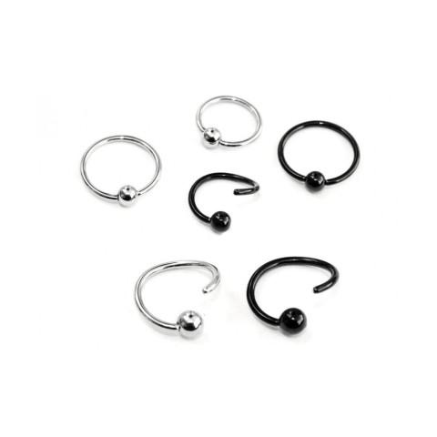 Piercing acero quirúrgico aro FLEXIBLE con bola - BCR - Joyería corporal