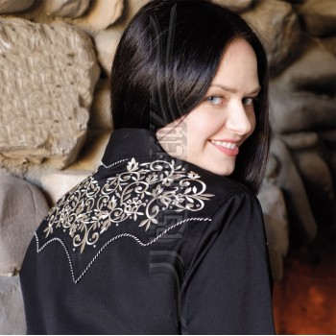 Camisa negra con bordados y piedras Holly