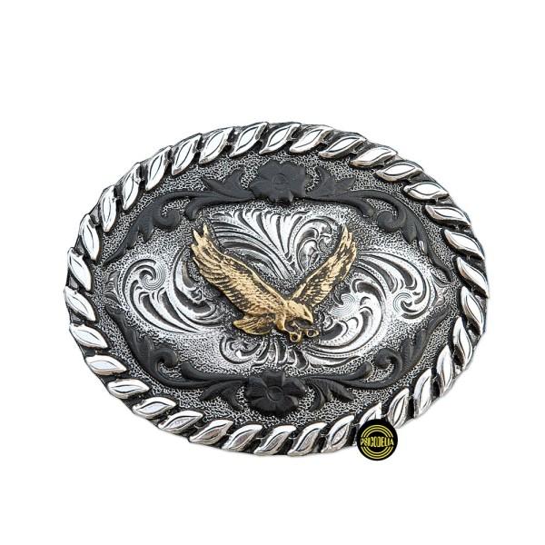 Hebilla Ovalada con filigrana negra y Águila Dorada GS316