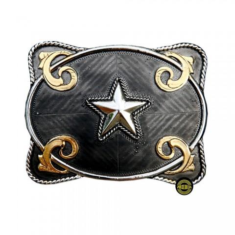 Hebilla Negra con Metal y Estrella GS317