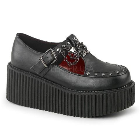 Zapatos buggies creepers de cuero vegano con cuña y cadenas