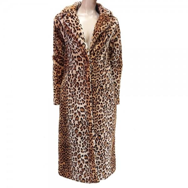 Abrigo largo de pelo de leopardo
