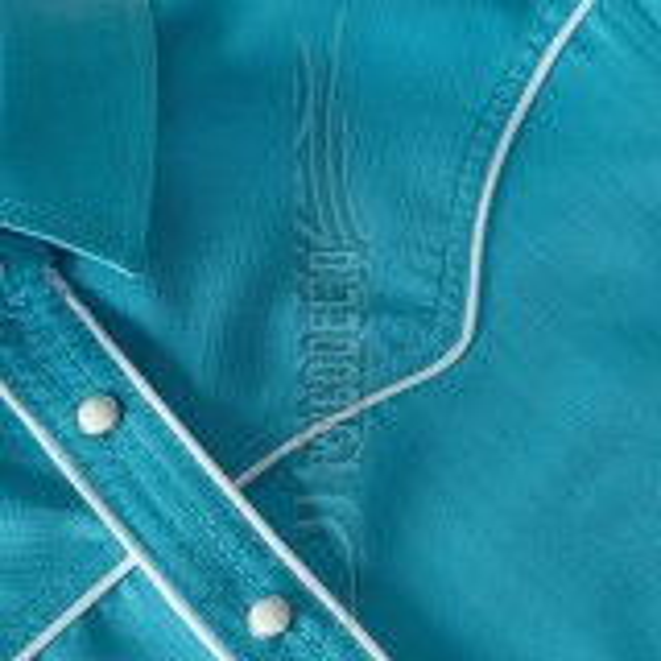 Camisa azul turquesa de manga corta A07