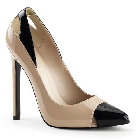 Zapatos de salón de tacón de aguja bicolor beige - Stiletto 22 Creme