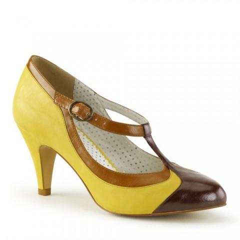 Zapatos Pin up Couture tricolor de tacón bajo - Peach-03 Amarillo