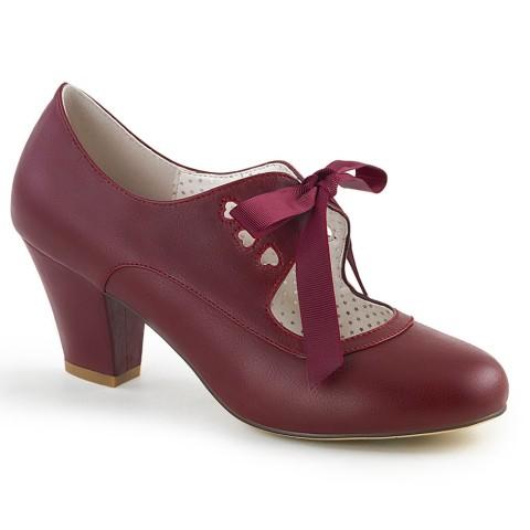 Zapatos Pin up Couture Mary Jane de tacón bajo en granate con lazo y corazón - Wiggle-32