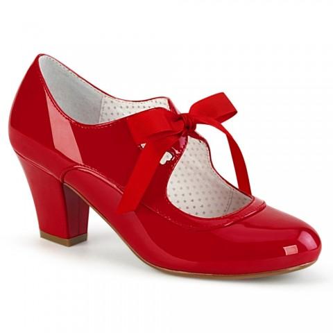 Zapatos Pin up Couture Mary Jane de tacón bajo en charol rojo con lazo y corazón - Wiggle-32
