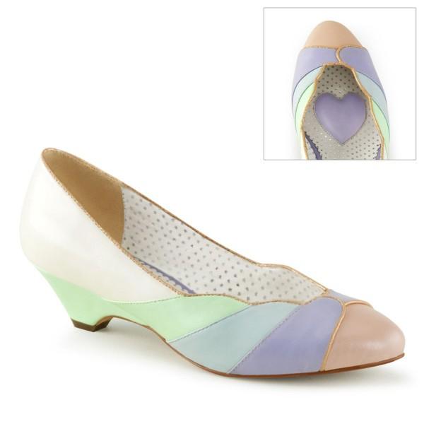 Zapatos Pin up Couture estilo vintage en tonos claros con diseño de concha - Lulu-05