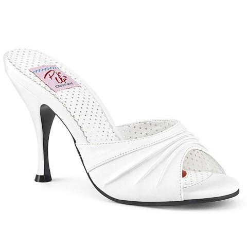Zuecos Pin up Couture en blanco con detalle fruncido - Monroe-01