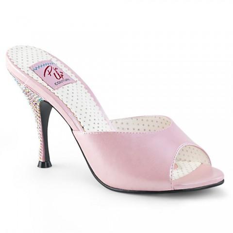 Zuecos Pin up Couture en rosa y tacón con piedras brillantes - Monroe-05