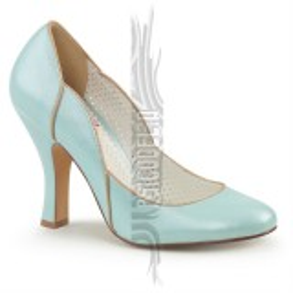 Zapatos Pin up Couture azul con ondas y costuras doradas - Smitten-04