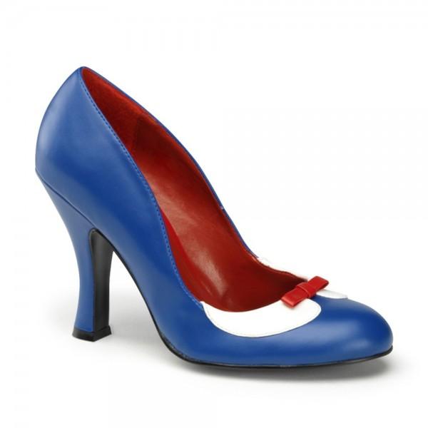 Zapatos Pin up Couture de estilo retro en azul con lacito - Smitten-05