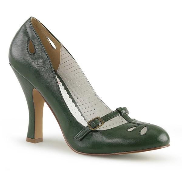 Zapatos Pin up Couture de estilo Mary Jane en verde con cortes de gotas - Smitten-20