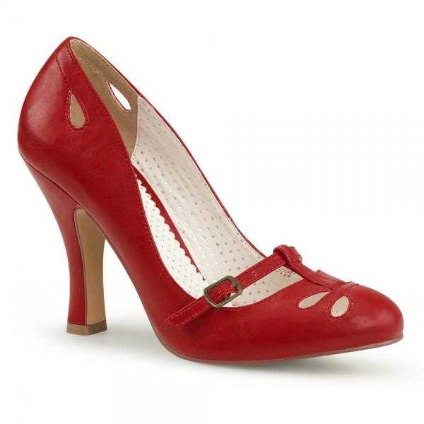 Zapatos Pin up Couture de estilo Mary Jane en rojo con cortes de gotas - Smitten-20