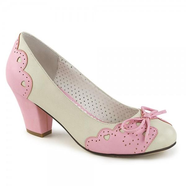 Zapatos Pin up Couture en rosa y beige de tacón bajo y punta redonda - Wiggles-17