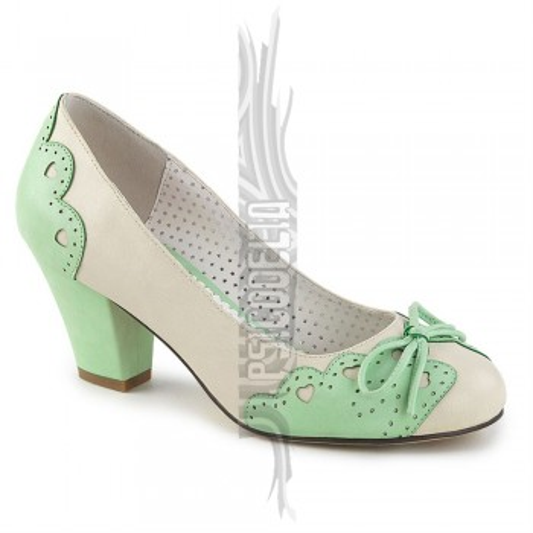 Zapatos Pin up Couture en verde y beige de tacón bajo y punta redonda - Wiggle-17