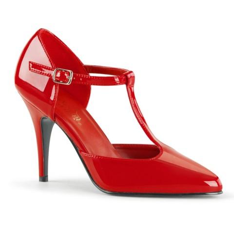 Zapatos Pleaser estilo vintage en charol rojo con correa en T (HASTA LA TALLA 46) - Vanity-415