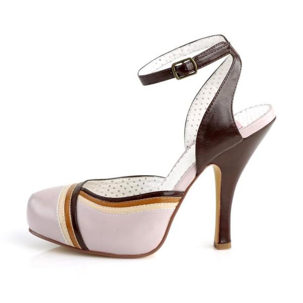 Sandalias Pin up Couture lila con bandas tricolor y pulsera cruzada - Cutiepie-01