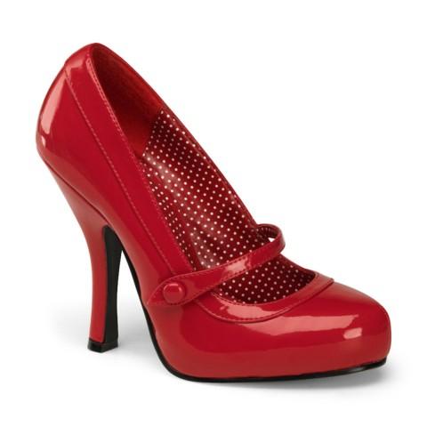 Zapatos Pin up Couture de estilo Mary Jane en charol rojo con botón - Cutiepie-02
