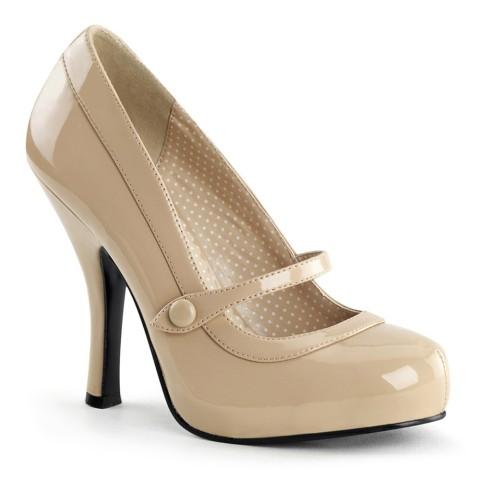 Zapatos Pin up Couture de estilo Mary Jane en charol beige con botón - Cutiepie-02