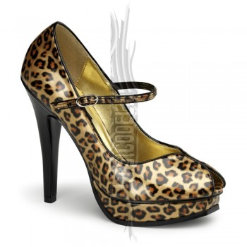 Zapatos Pin up Couture Mary Jane Peep Toe de leopardo con plataforma - Pleasure-02