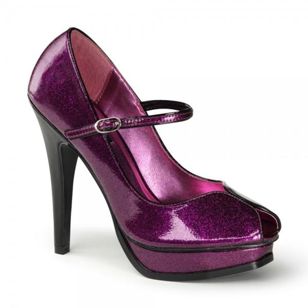 Zapatos Pin up Couture Mary Jane Peep Toe en morado brillante con plataforma - Pleasure-02G