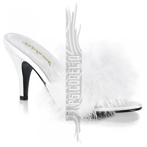 Zapatillas de satén y marabú en blanco Fabulicious - ¡HASTA LA TALLA 46! - Amour-03