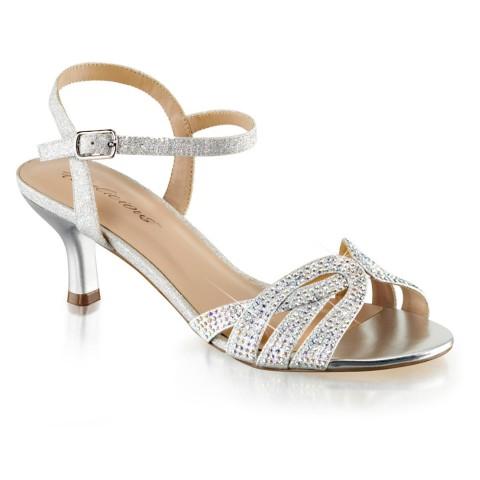 Sandalias plateadas de tacón bajo con pedrería y pulsera - Fabulicious Audrey-03